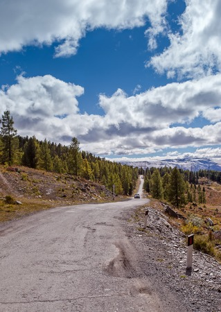 ulagan: road in the vicinity of the mountain pass Ulaganskiy. Altai, Russia