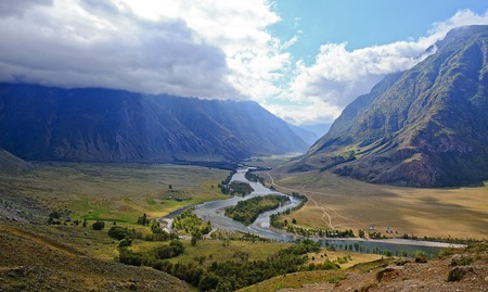 rockslide: panorama Valley of river Chulyshman, Altai. Russia