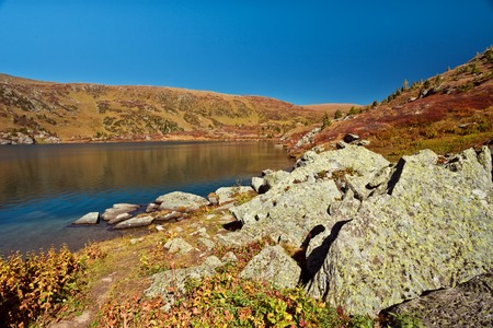 Shavlinskoe lake in the Altai mountains, Ust-Koksinsky district in September Stock Photo