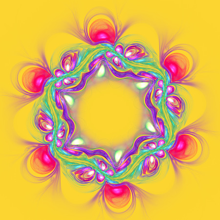 opal: Abstract pink flower on yellow background. Fractal artwork for creative design.