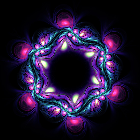 opal: Abstract vilet flower on dark background. Fractal artwork for creative design.