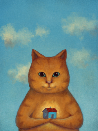 Every Cat Need A Home. Ginger cat with smal house on a hand with clouds blue sky