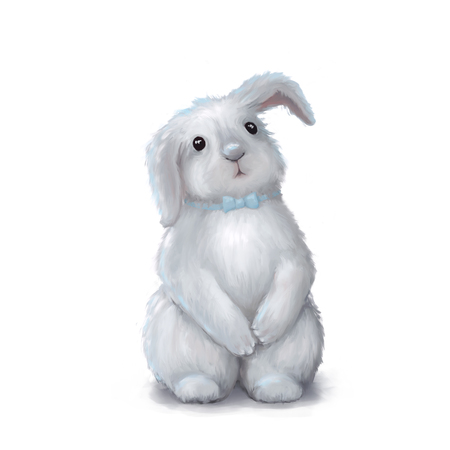 Cute white easter bunny rabbit boy with blue tie isolated on white Stock Photo