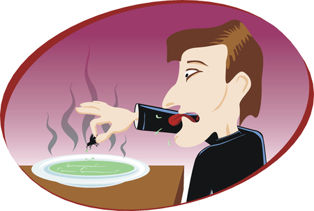 disgusting: Man eat disgusting soup with fly