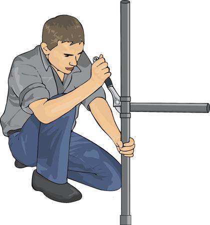 Plumber with tools repair tubes Illustration