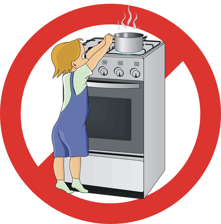 danger warning sign: Child at Danger in kitchen
