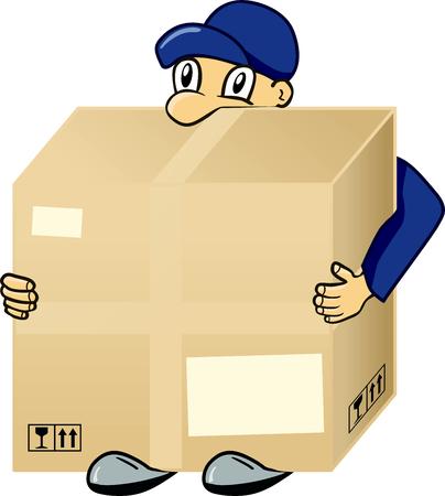carrying box: Man carrying box
