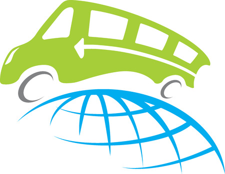 Bus travel around whole world illustration