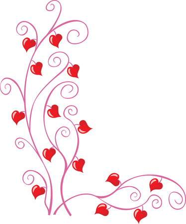 Floral pattern with little hearts for valentine cards Vector