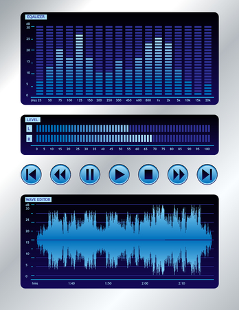 sound mixer: Blue mixer audio Vettoriali