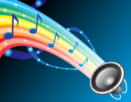 Colourful composition with music notes at rainbow Stock Vector - 3058259