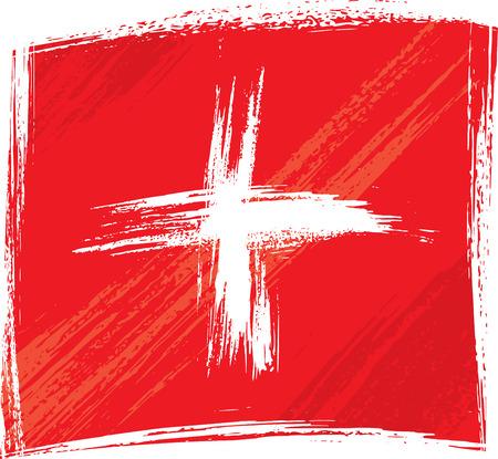 zwitserland vlag: Grunge Zwitserland vlag Stock Illustratie