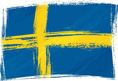 sweden flag: Grunge Svezia bandiera Vettoriali
