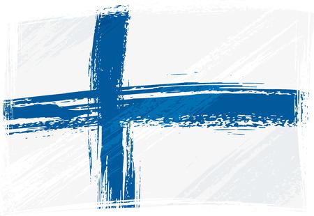bandera de finlandia: Grunge Finlandia bandera Vectores