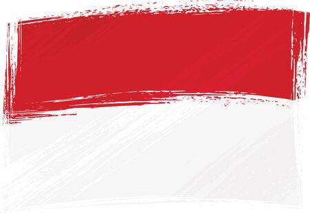 Grunge Indonesia and Monaco flag Vector