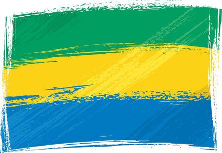 gabon: Grunge Gabon flag Illustration