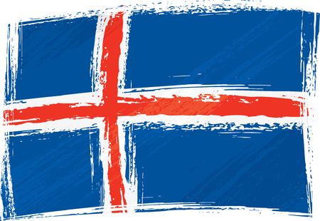 iceland flag: Grunge Iceland flag Illustration