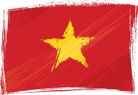 Vlag van grunge Vietnam  Stock Illustratie