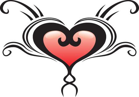 Heart crest tattoo Vector