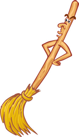 broomstick: Cartoon live broom isolated on white background