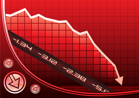 risico analyse: Pijl op de grafiek naar beneden als gevolg van de recessie
