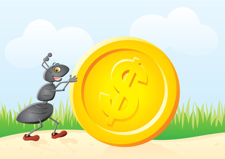 cartoon money: Small ant rolling big gold dollar coin