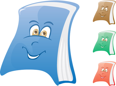 Cartoon book in blue, brown, green and red color Stock Vector - 3738156