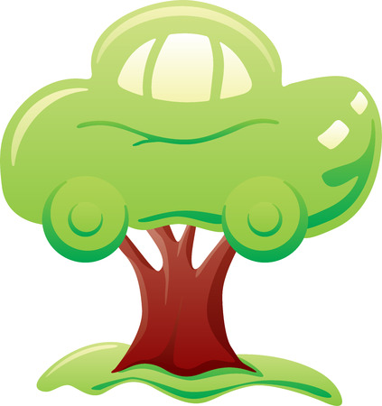 Abstract green car on tree symbolizes biofuel Stock Vector - 3738329