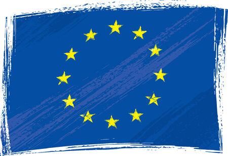 utworzonych: Unia Europejska flaga utworzona w stylu grunge Ilustracja