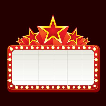 Klassieke leeg neon teken voor de bioscoop, het theater of casino  Stock Illustratie