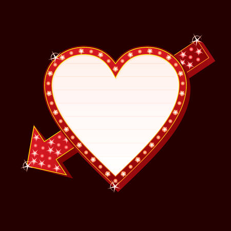 Neon sign with heart and arrow shape