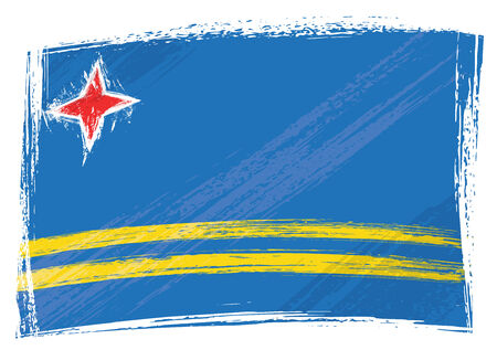 aruba: Grunge Aruba flag Illustration