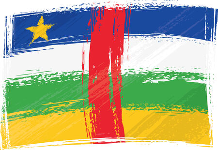 central african republic: Grunge Central African Republic flag Illustration