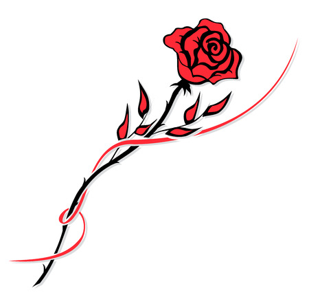 rose tattoo: Simple red rose drawing isolated on white