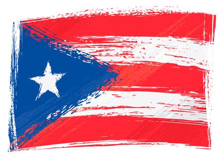 bandera de puerto rico: Bandera de Puerto Rico grunge Vectores
