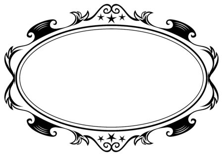 flourish frame: Antique oval frame Illustration