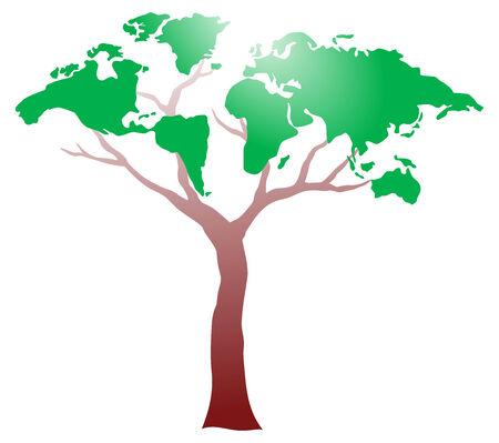 international recycle symbol: Worldmap on tree