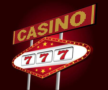 Grote rode neon voor casino met één arm bandit