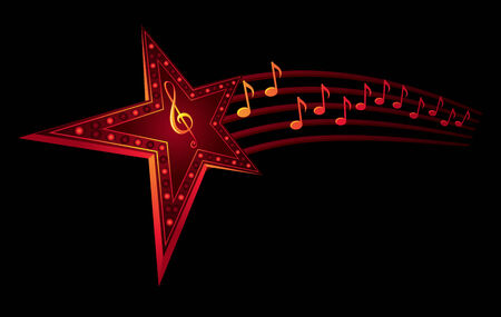 Neon star with music notes isolated on black