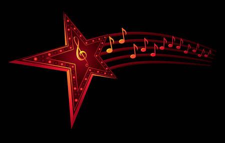 Neon ster met muziek noten geïsoleerd op zwart