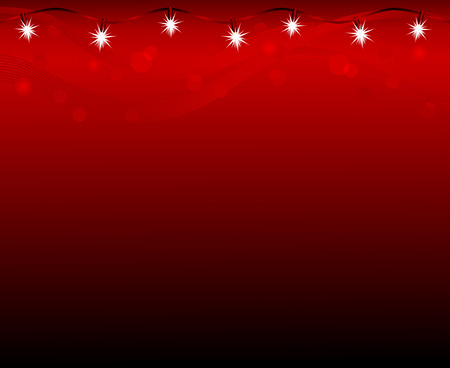 Christmas lamps shining on red background