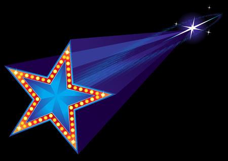 Vallende ster vorm neon in de nachtelijke hemel