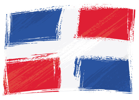 Dominican Republic national flag created in grunge style