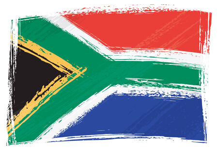 south africa flag: South Africa national flag created in grunge style Illustration