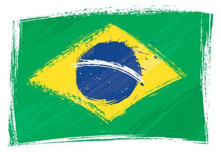 grunge flag: Brazil national flag created in grunge style