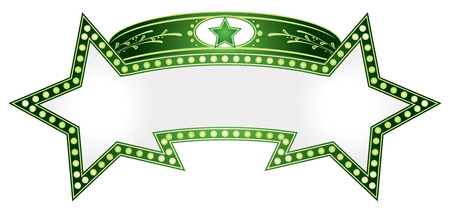 are combined: Green neon in shape of two combined stars Illustration