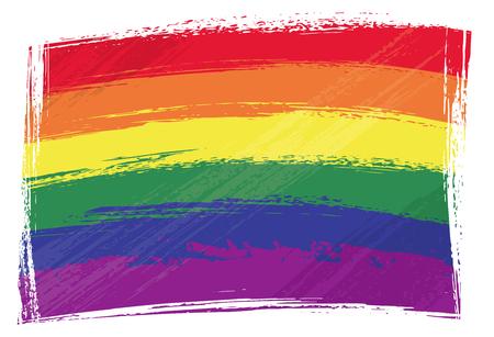 Bandera de orgullo gay creado en estilo grunge Ilustración de vector