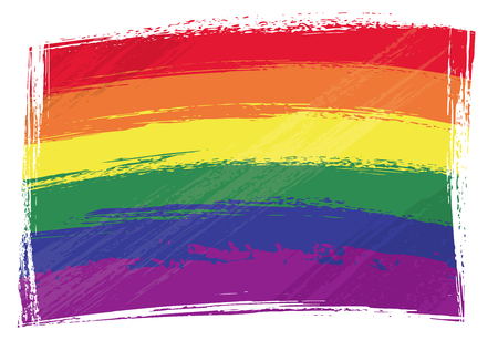Gay pride flag created in grunge style Vector