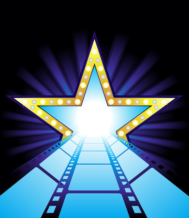 Fame star at the end of film road Vector