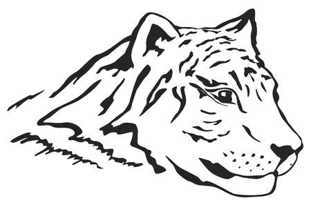 Illustartion of tiger head in tattoo style Vector